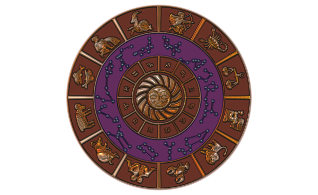 zodiac signs on wheel of the year in purple