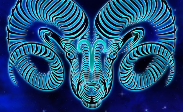 picture of horned sheep zodiac in the a starry sky