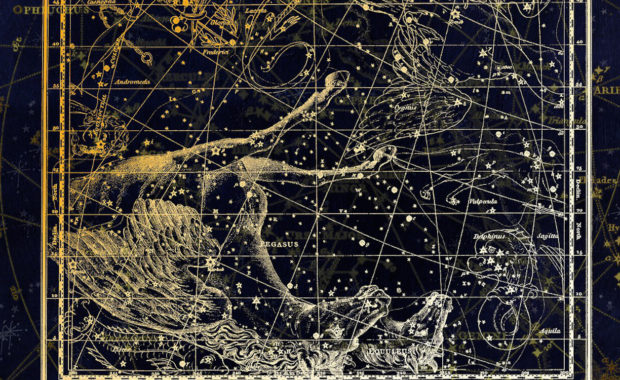 chinese zodiac horse sign constellation in the night sky
