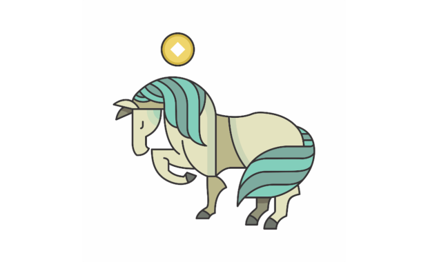 image of horse zodiac sign with one leg up and sun over its head
