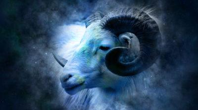image of sheep zodiac in a blue sky