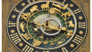 image of black and gold zodiac clock