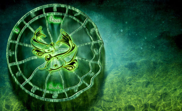 image of the pisces sign of two fish swimming in a circle with a dark and light green background