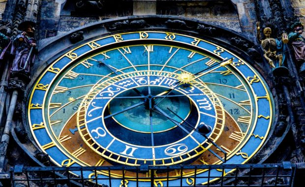 Astrology clock for telling horoscopes