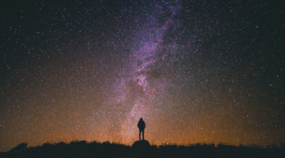 person looking at stars