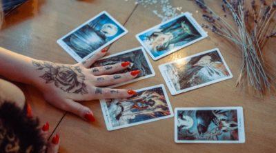 Tarot cards on a table